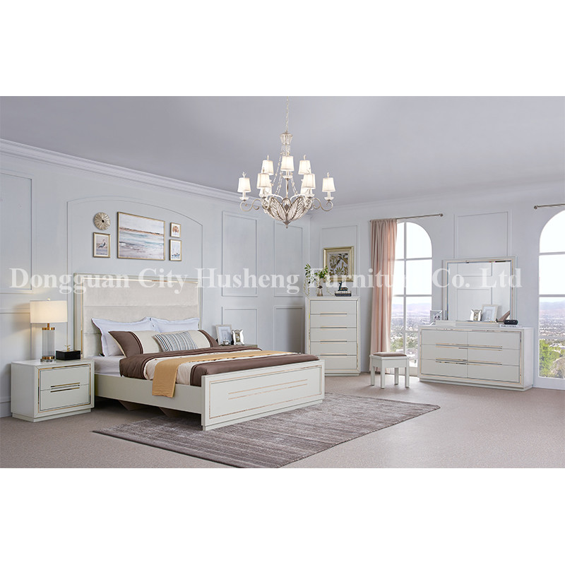 Modern Elegant Bedroom Set Furniture with High White Glossy Painting
